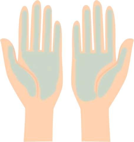 手のひらで塗布している場合の図