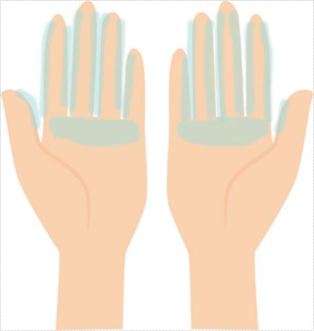 指と指の間にトリートメントを伸ばす図