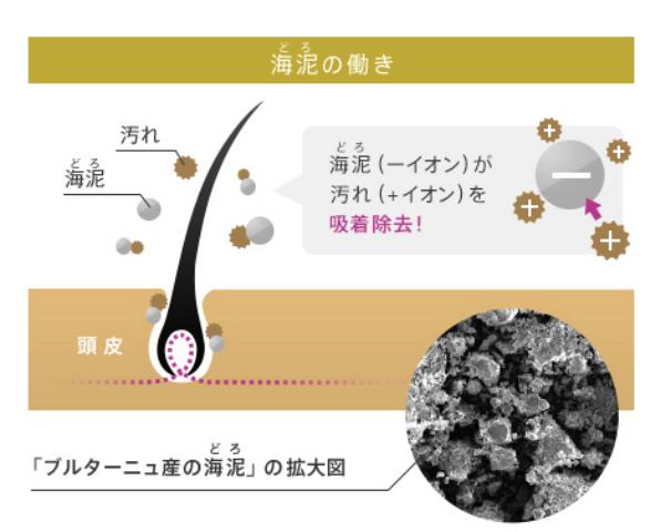 イオンの原理で汚れを吸着し取り除く図